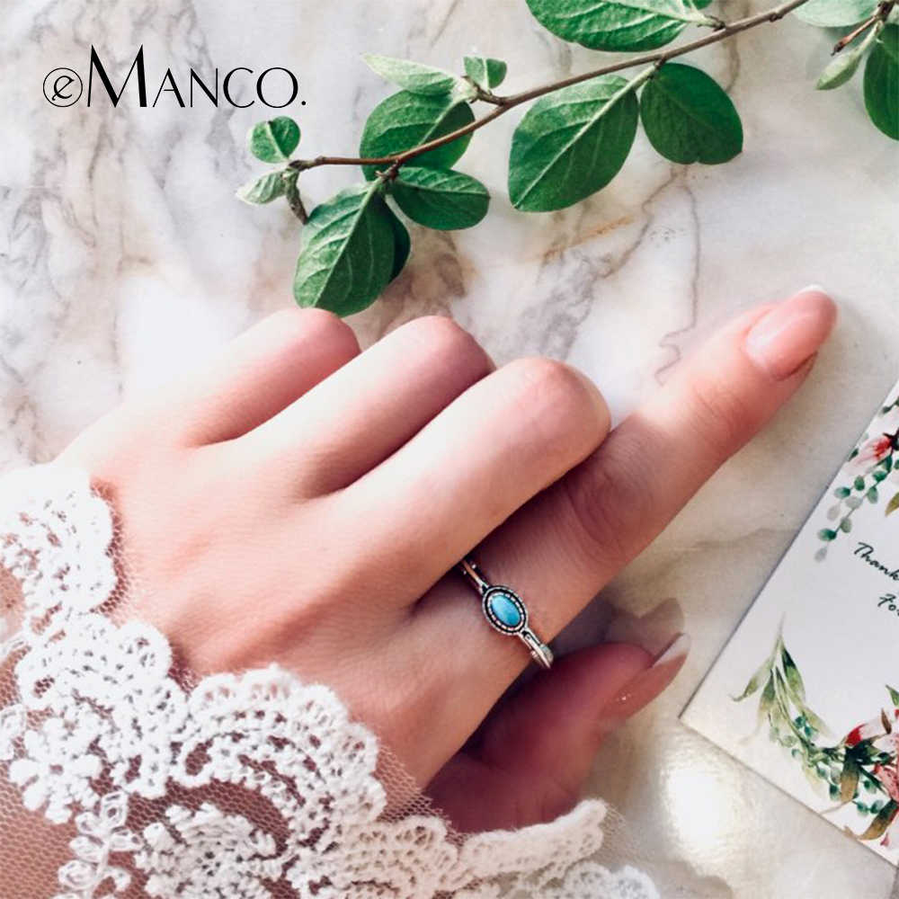 e-Manco 925 Sterling Silver Leaf Ring Wholesale Wedding&Engagement Blue Turquoise Rings New Arrival Best Gifts