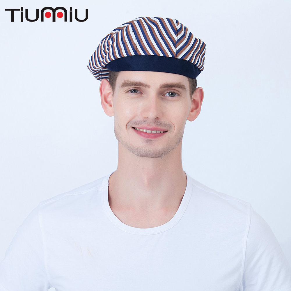 5 Colors Wholesale Striped Chef Hats Buffet Bakery Work Caps Food Service Kitchen Canteen Uniforms Accessories Forward Cap