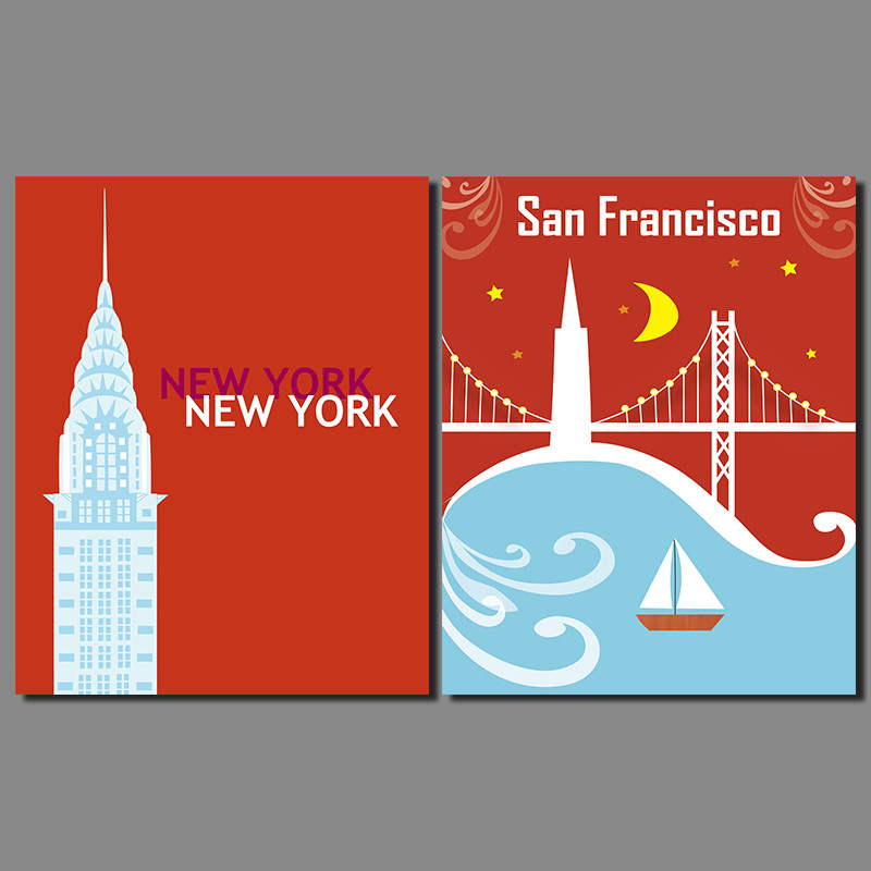 Modern city New York San Francisco decoration poster wall pictures moon boat river Golden Gate Bridge Canvas Painting unframed ...