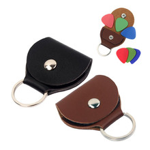 Portable PU Leather Guitar Pick Cases Key Chain Style Picks Plectrums Bag Holder Accessories