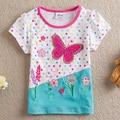 NEAT Kids 5Pcs/lot! 2014 new free shipping Diamond butterfly baby girls short sleeve t-shirts children clothing kids wear S2132#