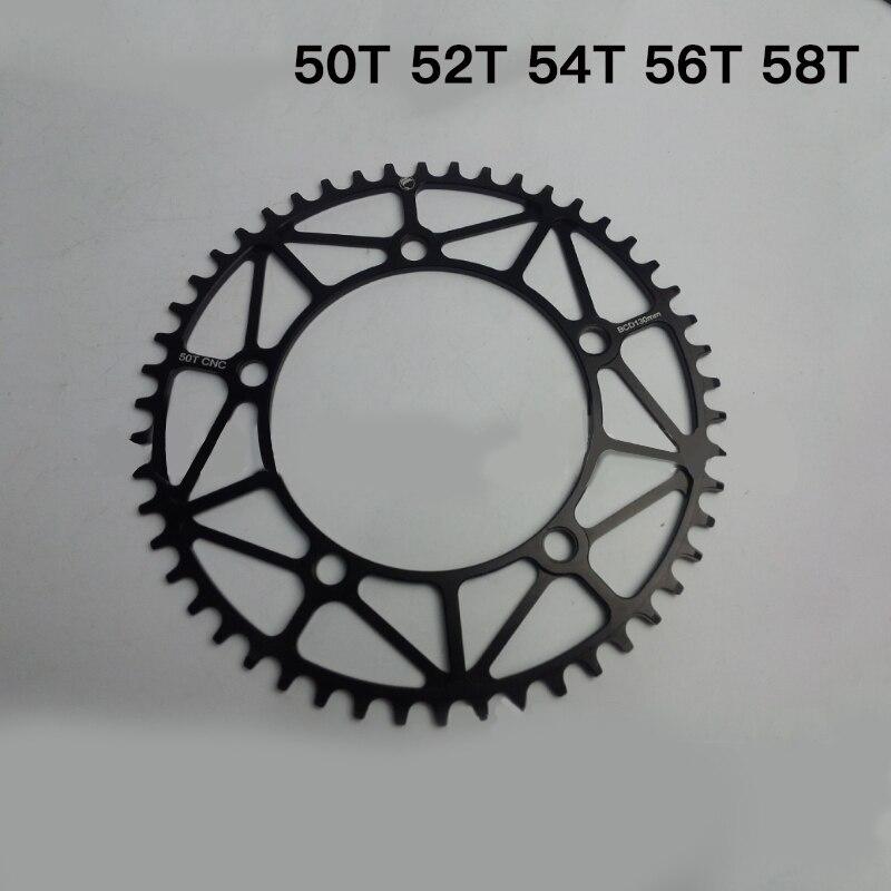 MUQZI vélo pliable positif et négatif plaque de dent de roue à chaîne 50 T 52 T 54 T 56 T 58 T 130 BCD cyclisme pièces de réparation ultra-légères