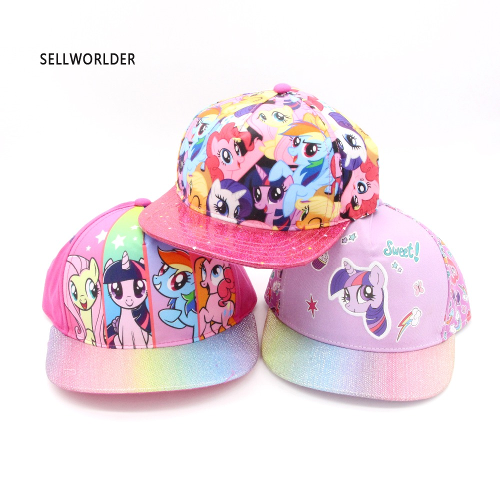 2017 SELLWORLDER  3 Styles Colorful Girls Cartoon Character My Little Cute Unicorn Baseball Caps