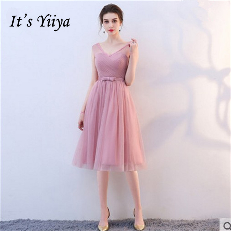 It's YiiYa V-Neck Sleeve 2 Colors 6 styles   Bridesmaids     Dresses   Lady Knee-Length Fashion Designer Bow Formal   Dress   LX700