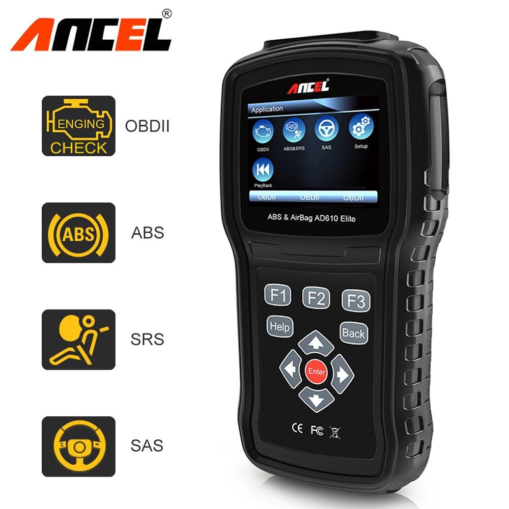 D'origine Ancel AD610 Elite ABS SRS Airbag Airbag Réinitialisation Des Données de L'accident SAS Outil Automobile Scanner Voiture Outil De Diagnostic OBD2 scanner