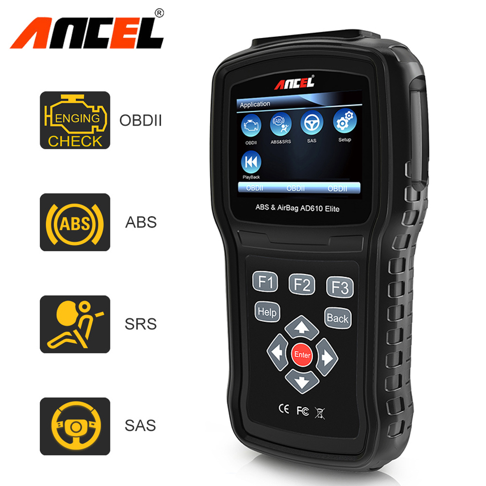 Original Ancel, AD610 Elite ABS SRS Airbag bolsa de aire accidente Reset de Datos SAS herramienta automotriz escáner coche herramienta de diagnóstico OBD2 escáner