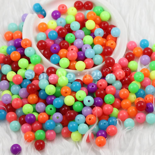 Jhnby Top Quality 250pcs Mixed Candy Light Color Acrylic Cream Beads Neon Smooth 6mm Round Loose Beads Fit Jewelry Handmade Diy Clients First Beads