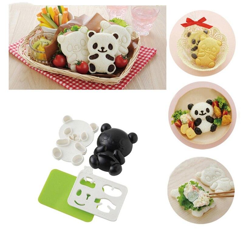 4pcs/set Cartoon Panda Mold Rice Sushi Mould Onigiri Shaper and Dry Roasted Seaweed Cutter Set Kitchen Mold Tools EA