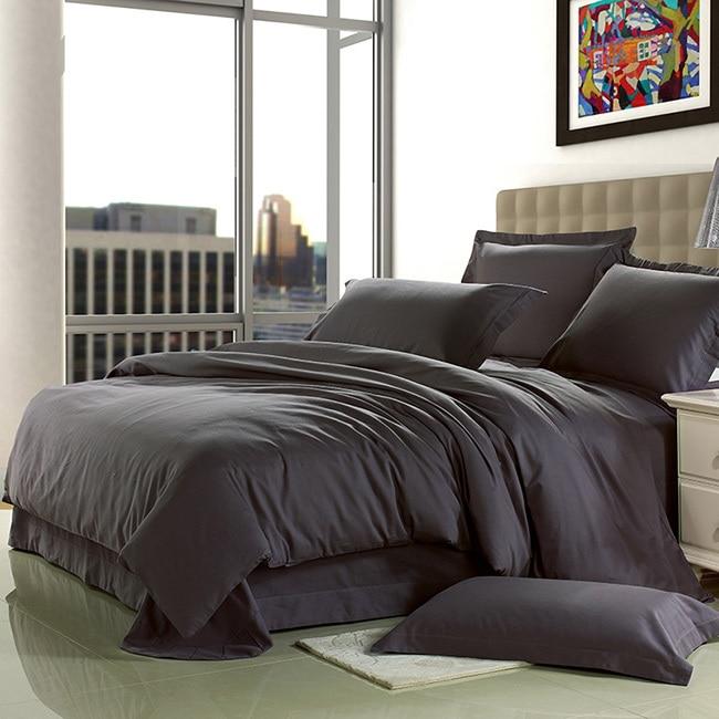 brief home textile 100 cotton sanding dark grey solid wedding bedding set europe designer 4pcs bed sheet duvet cover king queen