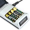 Original C905W 4 Slots Display LCD Inteligente Carregador de Bateria Inteligente para aa/aaa nimh nicd baterias recarregáveis eua/plug ue