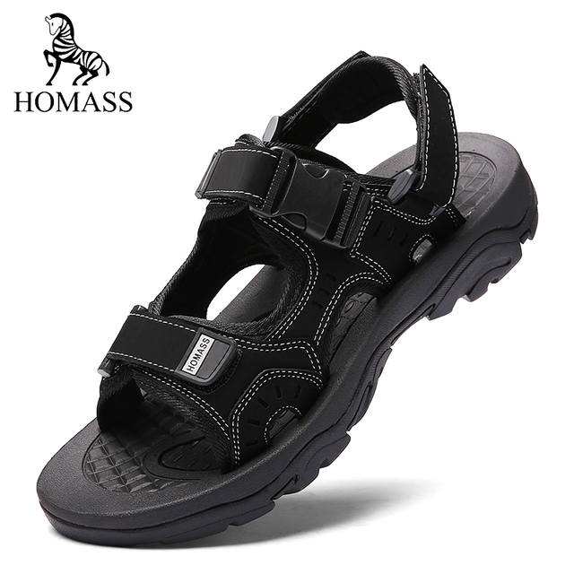f0efdc7bf Mens Sandals Comfortable Leather Summer 2018 New Leisure Beach Men Shoes  Outdoor Breathable Sandals Shoes Plus Size 38-45