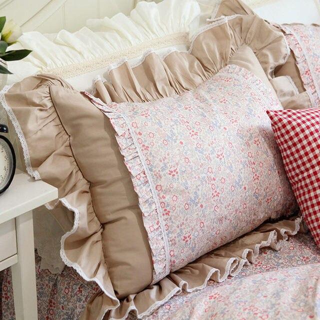 2 pz volant di pizzo federa elegante cuscino sham letto tessile ...
