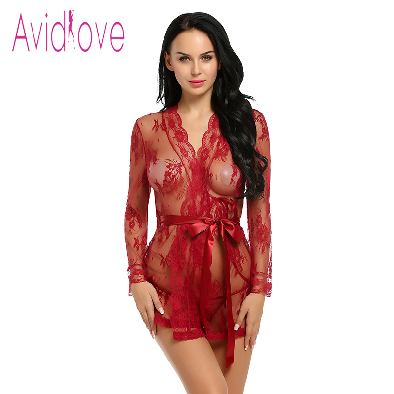 Avidlove Sexy Lingerie Robe Dress Women Lingerie Sexy Hot Erotic Plus Size Nightwear Sex Costumes Kimono Bathrobe Dressing Gown sexy spandex one piece underwear bathrobe nightwear w t back waist belt for women black