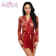 Avidlove Sexy Lingerie Robe Dress Women Lingerie Sexy Hot Erotic Plus Size Nightwear Sex Costumes Kimono Bathrobe Dressing Gown