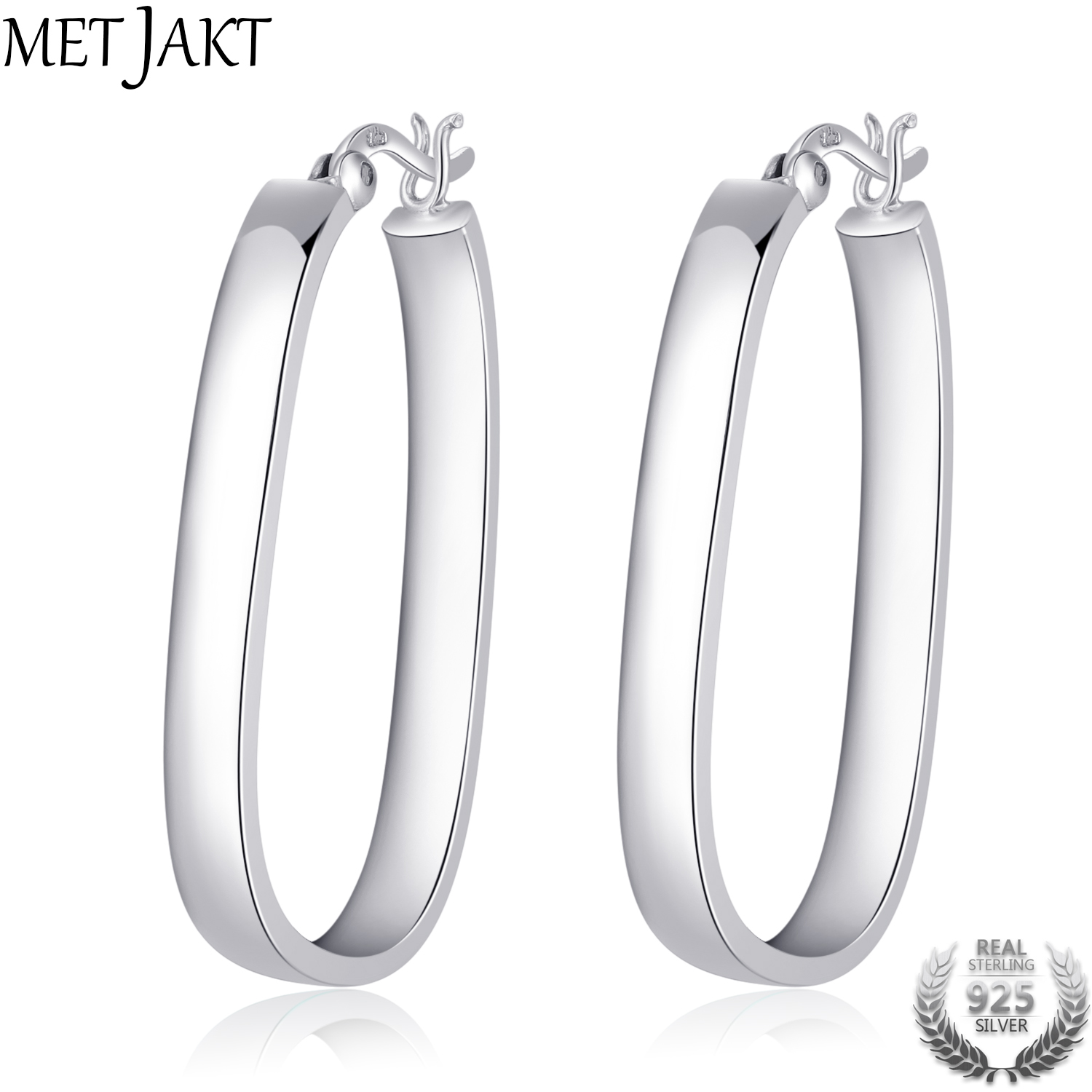 цена на MetJakt Classic 925 Sterling Silver Square Vintage Hoop Earrings for Women Best Gift Fashion Jewelry