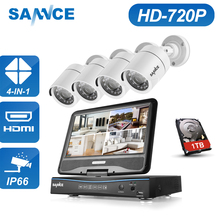 SANNCE 4CH 720P 4 in 1 Security Camera System 10.1″ LCD Monitor 1.0MP 1280TVL HD IR Outdoor Video Home Security Surveillance Kit