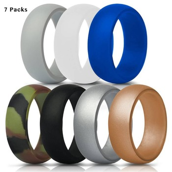 Mens Classic Fashion Sports Silicone Ring Gym Engagement Large Queen Size 14 15 16 Wedding Working Couple Band 7 Colors