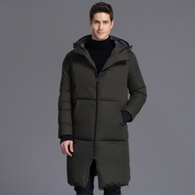 Brand New Men's Winter Jacket Solid Long Loose Hooded Thicken Warm Duck Down Jacket Men Casual Outwear Plus Size CO132