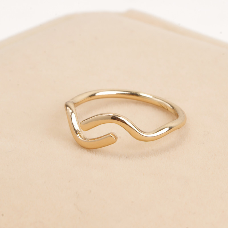 New simple gold silver adjustable knuckle open ring for women ...