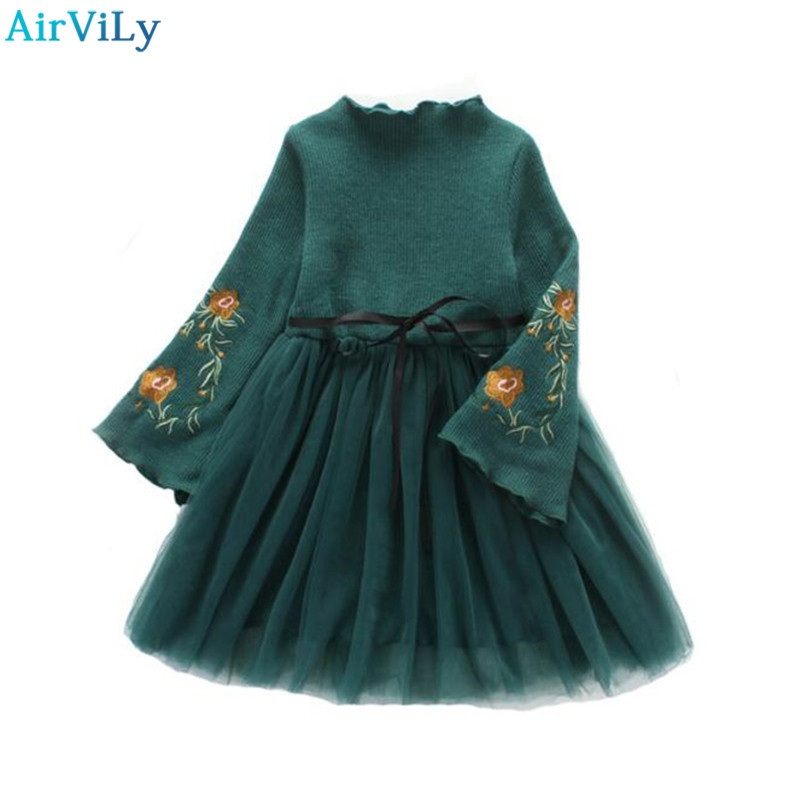 Girls Party Dress Winter Princess Costume Kids Dresses for Girls Clothes Flower Embroidery Children Warm Plus Velvet Lace Dress цена