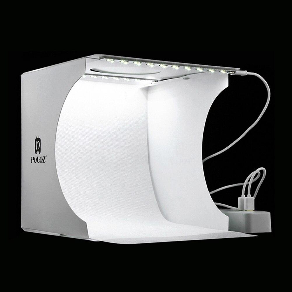 Profesión plegable Mini Lightbox fotografía estudio Softbox 2 LED luz suave FONDO DE foto Kit para cámara DSLR