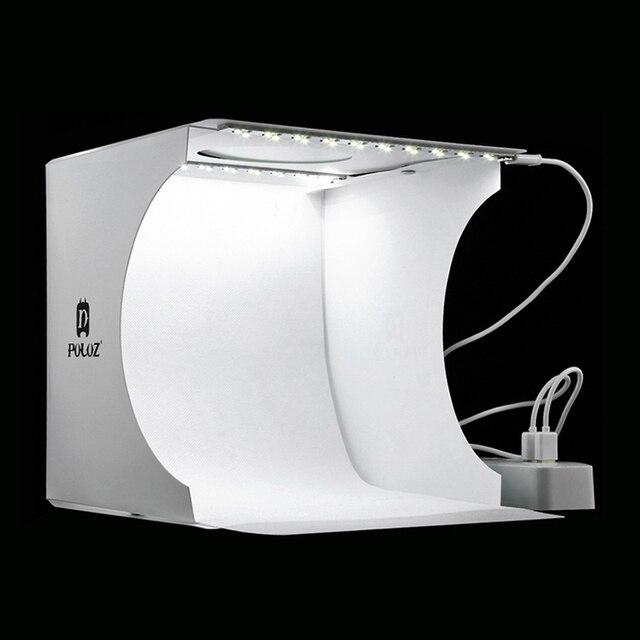 Profession Mini boîte à lumière pliante photographie Studio Softbox 2 lumière LED boîte souple Kit de fond Photo pour appareil Photo reflex numérique