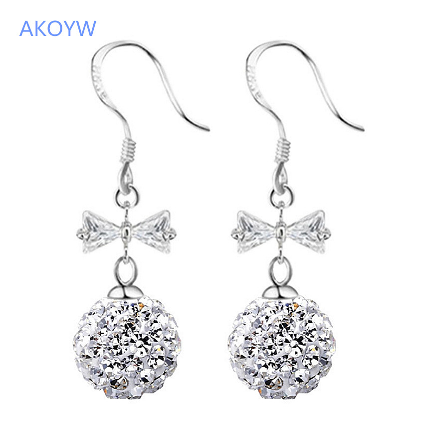 product AKOYW Super Shining Yaoxiang Ms. Bara earrings long section tassel exaggerated dazzling crystal ball earrings fashion jewelry