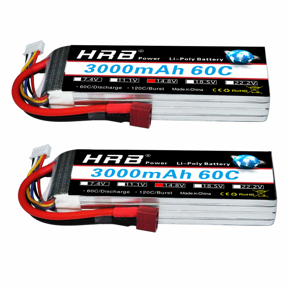 2pcs HRB RC Lipo 4S Battery 14.8V 3000mAh 60C MAX 120C RC Bateria Drone AKKU For Quadcopter Car Helicopter Airplane Li-Polymer цена 2017