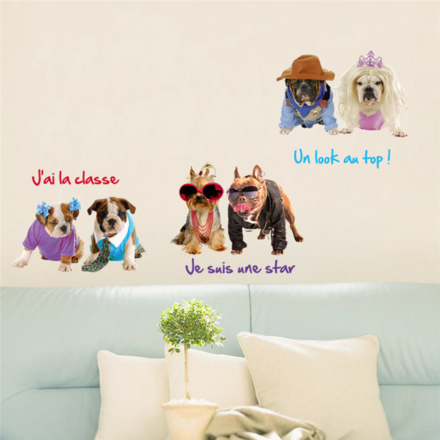 Cute Dog Cat Wall Sticker Removable Pets Wallpaper For Sofa Tv