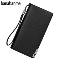 Banabanma Men Wallets PU Lichee Pattern Male Clutch Purse With Zipper Closure Solid Color Card Holder