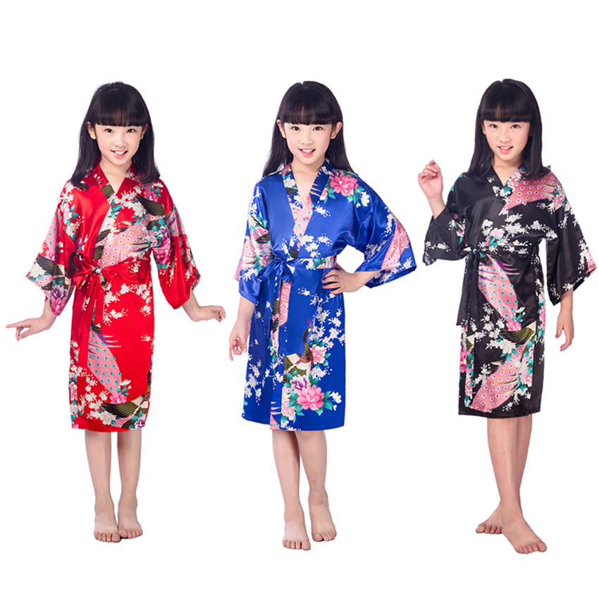 80-160cm Kids Girls Kimonos Dress Knee-length Satin Bath Robes Japanese Traditional Costumes Vintage Sleep Pajamas Nightgown