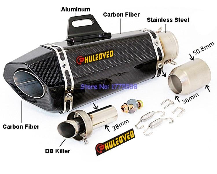 PHULEOVEO Л: 325 мм 51 мм на входе углеродного волокна мотоцикл выхлопная Труба глушителя выхлопной трубы глушители с мотоцикла убийцы дБ Побег