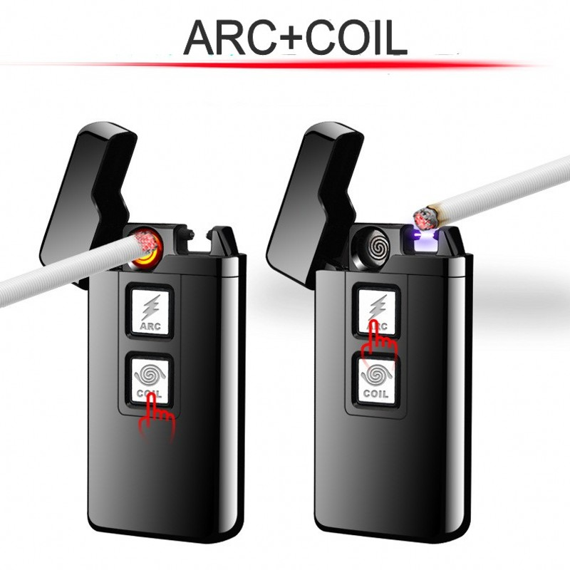 2018 New 2 in 1 Coil and Arc Lighter Smart Electronic USB Lighters Dual-purpose Touch Induction Ignition Metal Cigarette Lighter