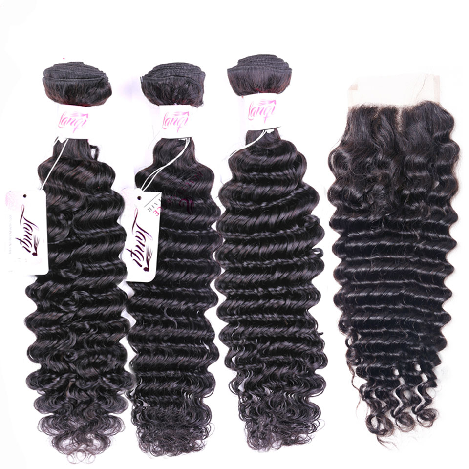 brazilian deep wave bundles with closure Peruvian hair weave bundles with closure lanqi nonremy human hair bundles with closure