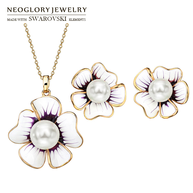 Neoglory Earrings Jewelry-Set Necklace Flower Pearl Enamel Stylish Party Trendy Simulated