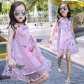 2016 Estilo Del Verano Niñas Niños Moda Rodilla de Encaje de Flores Sin Mangas Vestido de Los Niños Del Bebé Ropa Infantil Vestidos de Fiesta