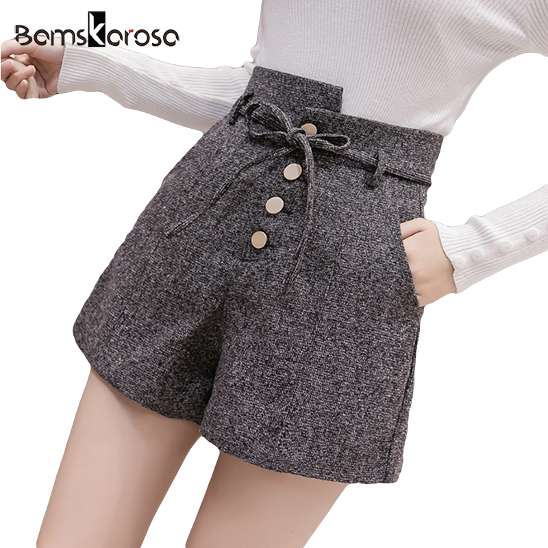 New Autumn Winter High Waist Short Feminino Solto Woolen Short Mujer 2018 Sexy Office Wide Leg Shorts Women Loose Belt Female