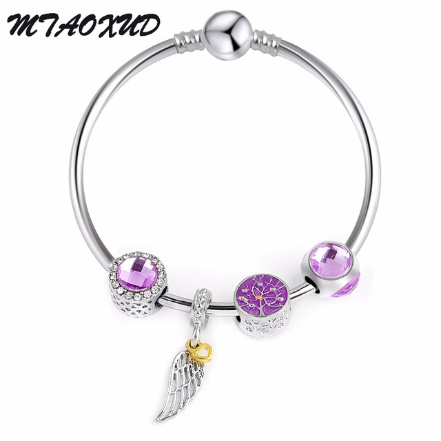 2018 New Purple Tree Magnolia P Bracelet Silver Plated Diy Jewelry With Birthstone Beads For Women
