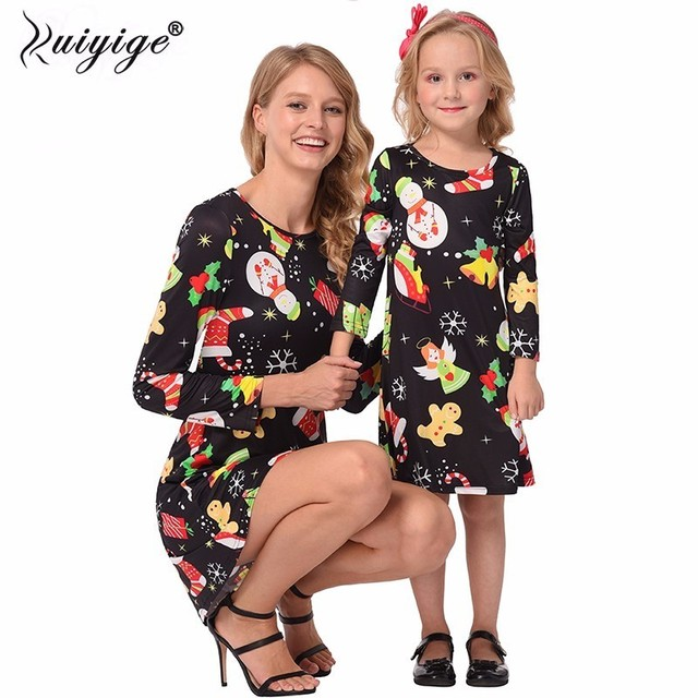 2a2179911661 Ruiyige 2018 Autumn Women Christmas Dresses Casual Snowman Snowflake Long  Sleeves Elastic Tunic Santa Mini Robe Vestido De Festa