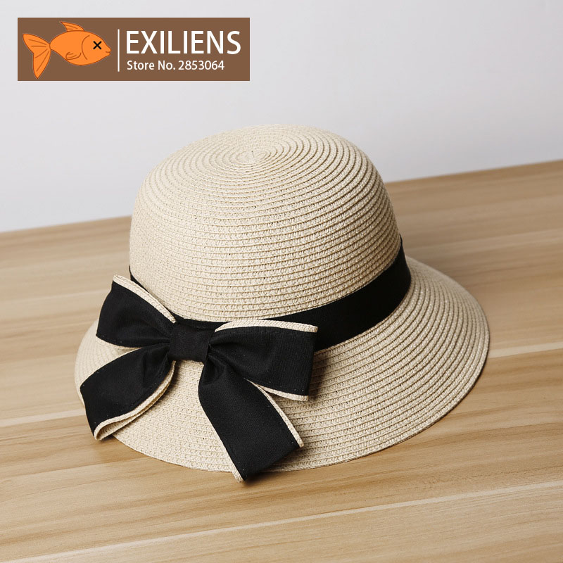 [EXILIENS] 2018 New Lady Fashion Summer Brand Womens Sun Hats Woman Cap Holiday Hot Straw Bowknot Big Brim Shade Sunscreen Girl