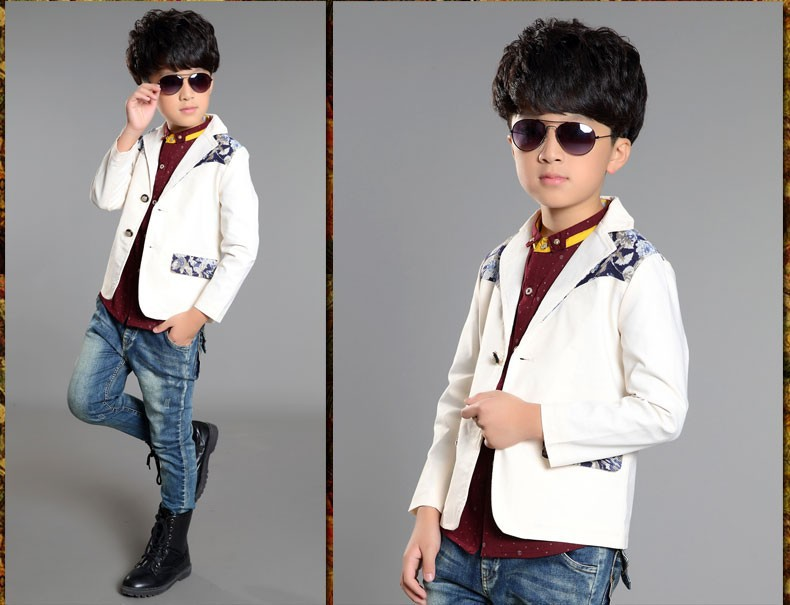 834cfd46d children boys Korean printing small suit coats and jackets kids ...