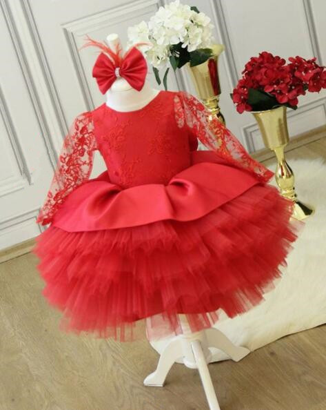 Red cupcake sheer lace long sleeves flower girl dress baby birthday party ball gown formal dresses with headpiece and big bow