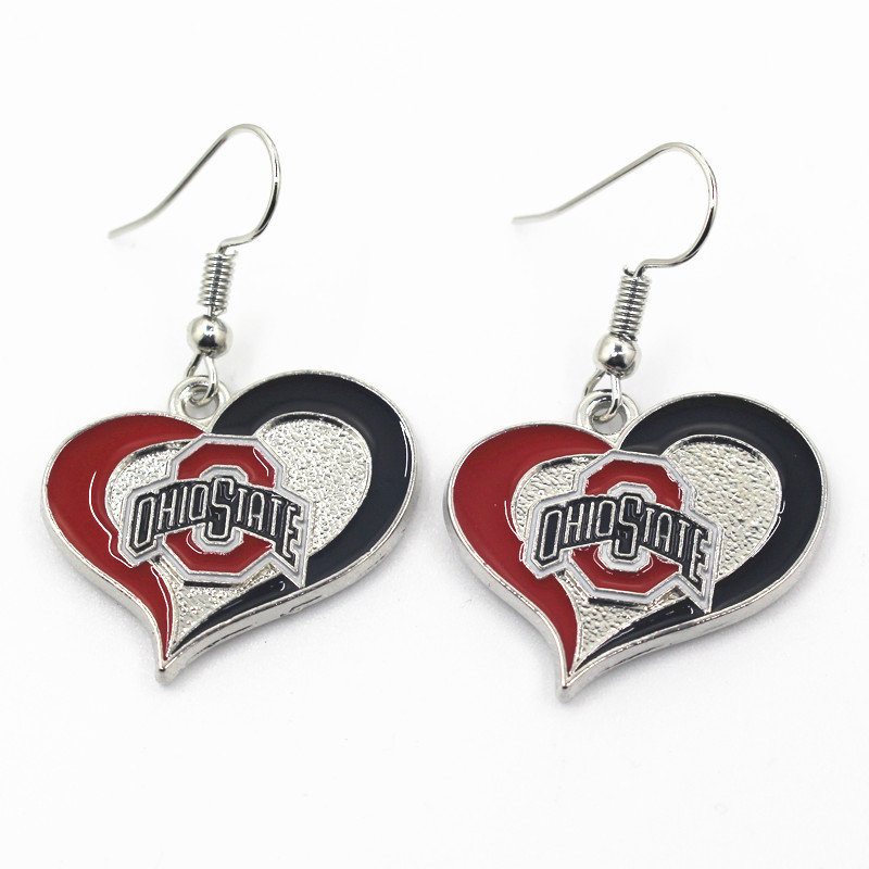 Wholesale NCAA 6 pair/lot America Footbal Earring Jewelry Team Ohio State Sports Earring for women earrings Jewelry