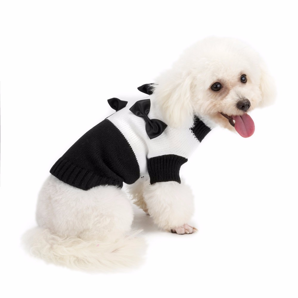 Black and White Bow Dog Coats Sweaters Pet Dog Clothes For Small Dogs Chihuahua Winter Warm Pet Supplies Puppy Outfit Costume