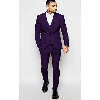 Men Suits Blazer With Pants Slim Fit Casual One Button Jacket for Wedding Purple Groom Tuxedo Suit Men Fit (Jacket+Pants+Vest) semir men slim fit suit pants cotton chinos pants with side pockets and back button pocket casual style for sping autumn