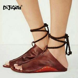 f1400c867 DIJIGIRLS Summer Womens Ladies Sandals Flat Gladiator Shoes