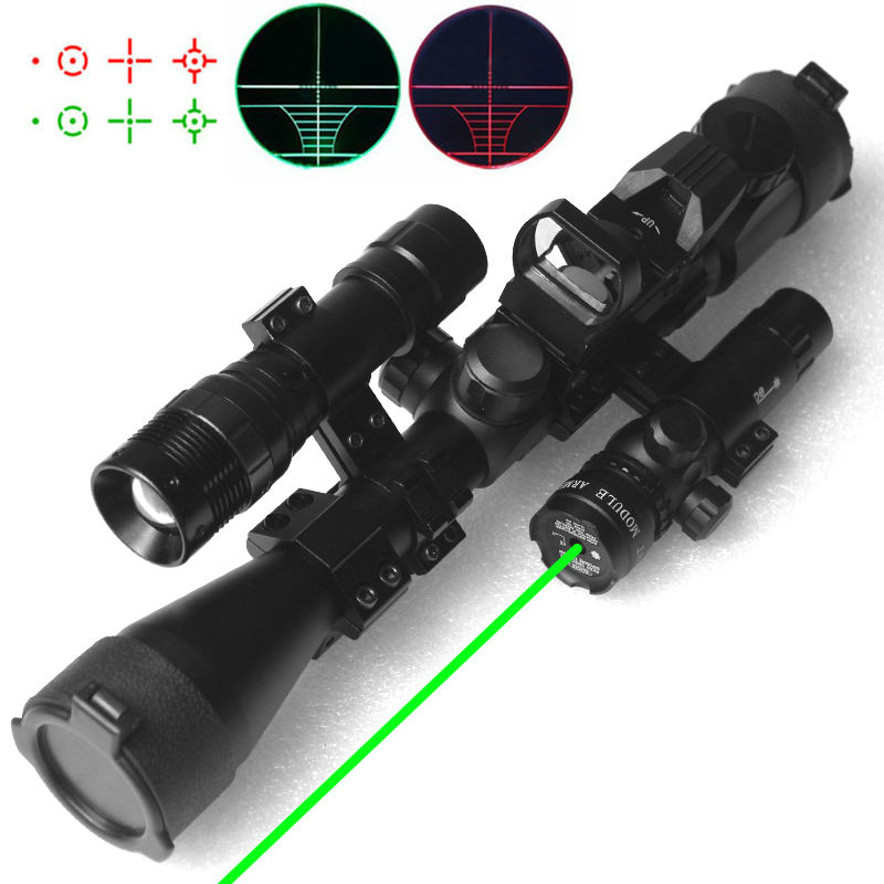 ФОТО 4in1 Airsoft Hunting Riflescopes Tactical Optics Reflex Holographic Red Green Dot Laser Sight Scope With Flashlight For Shooting