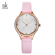 Shengke Luxury Quartz Watch Women Ladies Fashion Leather Watches Montre Femme 2019 Top Brand SK Women Wrist Watch Reloj Mujer sekaro women luxury top brand watch ladys lucky flower fashion wrist watch women s wristwatch montre femme quartz watch for gift