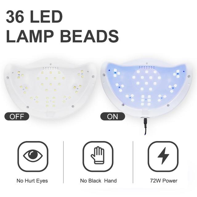 72W SUN5 Pro UV Lamp LED Nail Lamp Nail Dryer For All Gels Polish Sun Light Infrared Sensing 10/30/60s Timer Smart For Manicure 1