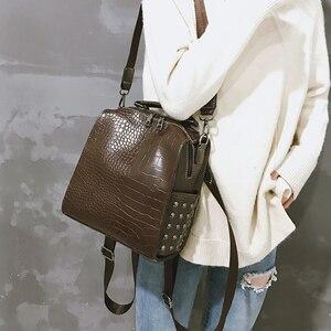 Image 3 - Fashion Women Leather Backpacks New Crocodile Pattern Travel BackPack Rivet Shoulder Bag Backpacks for Girls School Bag Backpack
